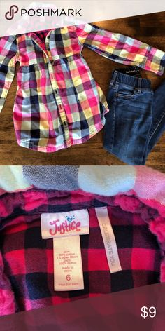 Kids Justice Flannel In perfect Condition, size 6 Justice Shirts & Tops Button Down Shirts