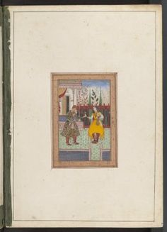 Akbar and a girl with a wine cup. (c. 1575) Mughal India. MS. Douce Or. b.1 By permission of The Bodleian Library, University of Oxford.