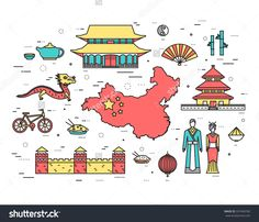 Country China Travel Vacation Guide Of Goods, Places In Thin Lines Style Design. Set Of Architecture, Fashion, People, Nature Background Concept. Infographic Template For Web And Mobile On Vector Flat - 337440782 : Shutterstock