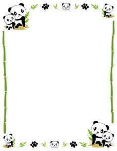 Border clip art featuring cute pandas, bamboo, and paw prints. Free downloads at http://pageborders.org/download/panda-border/