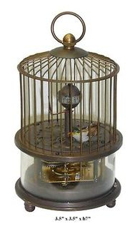 Vintage Unique Shape Bronze Bird Cage Clock Decor f263