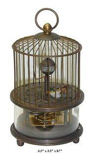 Vintage Unique Shape Bronze Bird Cage Clock Decor f263