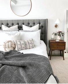 Borchers Upholstered Panel Bed - Home Decoration Ideas - Bedroom Cozy Bedroom, Home Decor Bedroom, Bedroom Furniture, Bedroom Inspo Grey, Budget Bedroom, Bedroom Curtains, White Comforter Bedroom, Grey Bedding, Bedroom Bed