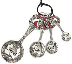 Ganz Measuring Spoons - Christmas Wreaths with Colored Enamel $19.95