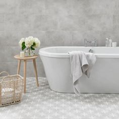 Wicker from Laura Ashley , The Heritage Collection has a beautiful intricate pattern which presents a distinctive style to any room. This perfect ceramic square tile comes in a matt finish and is very reminiscent of the Laura Ashley brand. Modern Bathroom Tile, Bathroom Grey, Bathroom Plans, Bathroom Floor Tiles, Small Bathroom, Gray And White Bathroom Ideas, Mosaic Bathroom, Bath Tiles, Family Bathroom