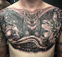 Amazing chest tattoo by Laura Marshall!
