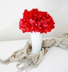 red hydrangea + milk glass vase