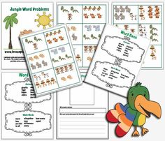 Jungle Word Problems: Free Printable that helps students write number sentences and word problems!