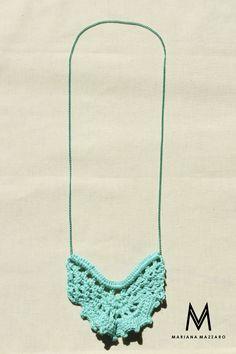 Colar de #crochet Rebeca Cor: Turquesa #Handmadeforyou Código do produto: 566B75