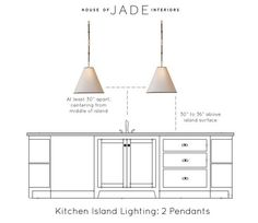 Kitchen Island Lighting Height. Kitchen Island Using Two Pendant Lighting Height. The ideal height and space between two pendants above island. #kitchenlightingheight House of Jade Interiors