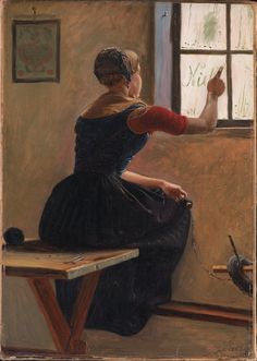 "Christen Dalsgaard, ""Ung Jysk bondepiga skriver vennens navn på den duggede rude"" (A young farmgirl from Jylland writing her friend's name on the dewy window), 1852"