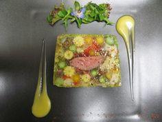 シェ オリビエ - 鴨肉とモリーユ茸が入った野菜のテリーヌ、パッションフルーツのヴィネグレット