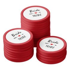 Bride Tribe Red Heart Arrow Red & White Poker Chip Set - bridal shower gifts ideas wedding bride