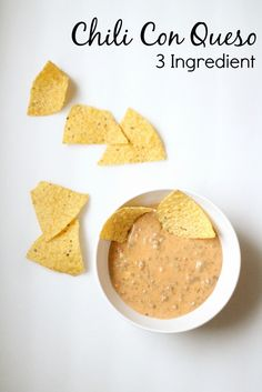 Tailgate Party Hop: Easy Chili Con Queso www.simplestylings.com  Great football food in the crockpot! Crockpot recipes. Easy crockpot recipe ideas. Cheese dip ideas.