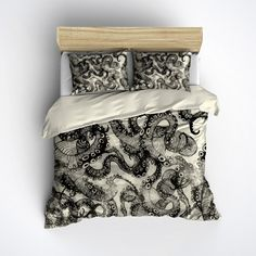 Featherweight Octopus Bedding -  Cream & Black Octopus Design Printed on Cream - Comforter Cover - Octo Duvet Cover, Octopus Bedding Set