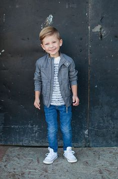 Sweet Little Peanut | Guess Kids. Love this fall look for little boys. Nylon jacket + striped tee + skinny jeans + high tops #boysfashion #boyfashionkidsswag