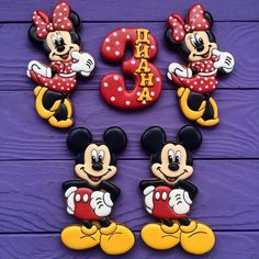 Mickey and Minnie Mouse Birthday Cookies Mickey Mouse Cookies, Disney Cookies, Mickey Cakes, Minnie Mouse Cake, Mickey Mouse And Friends, Fancy Cookies, Iced Cookies, Cupcake Cookies, Mickey Mouse Clubhouse Party