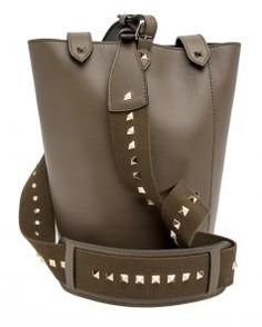 $1,795.00  $897.50 of Valentino Army Green Rockstud Leather Bucket Bag