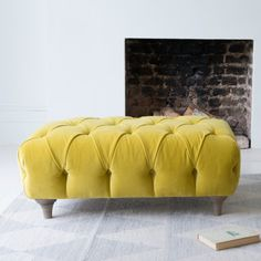 Rectangular Dimple footstool in Turmeric clever velvet