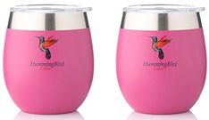 Buy Insulated Wine Glasses by HummingBird Colors - Stainless Steel Tumbler Cups with Double Wall Vacuum and Powder Coated - Stemless and BPA Free Shatterproof Lid - Set of 2 for Home or Outdoor Travel Hummingbird Colors, Tumbler Cups, Powder Coating, Outdoor Travel, Wine Glass, Stainless Steel, Mugs, Glasses, Tumblers