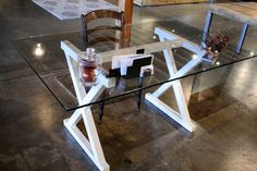Modern White Glass Desk - Steel Metal Base, Any Color - Kev, my desk at home looks a little bit like this.
