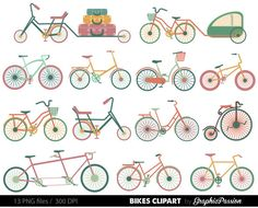 Bicycle Silhouettes Bicycle Clip Art Bike by GraphicPassion