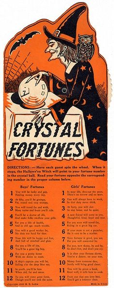 "1941 Beistle 'Crystal Fortunes' Halloween Fortunes and Stunt Game Halloween Decoration/Game. Size: 12"". #vintage #1940s #Halloween"