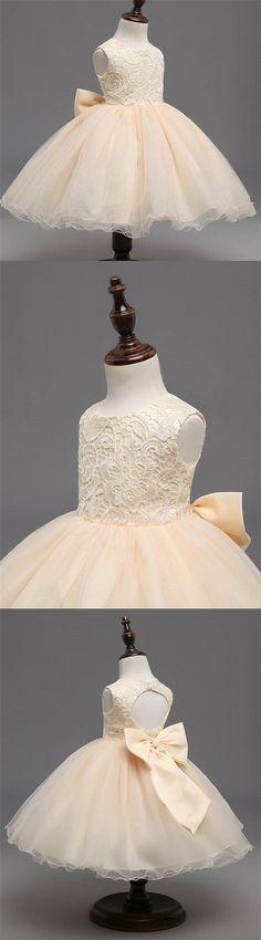BEIGE LACE TOP SLEEVELESS FLOWER GIRL DRESSES, POPULAR TULLE FLOWER GIRL DRESSES, FG039