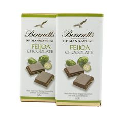 Bennetts of Mangawhai's famous Feijoa bar in milk chocolate. How To Make Chocolate, New Zealand, Milk, Place Card Holders, Bar