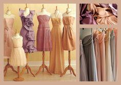 Bridesmaids Dress Mis match idea diff colors but I love the diff designs