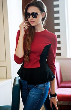 Contrast Color Wasp Waist Three Quarter Sleeve Jersey Blouse
