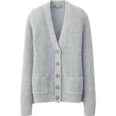 UNIQLO Middle Gauge V Neck Cardigan ($15) ❤ liked on Polyvore featuring tops, cardigans, outerwear, sweaters, light gray, oversized cardigan, v-neck tops, over sized cardigan, oversized tops and vneck cardigan
