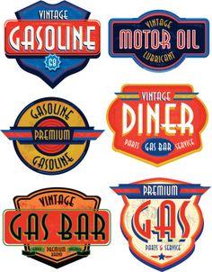 Satz von retro Vintage Benzin Schildern und Bar
