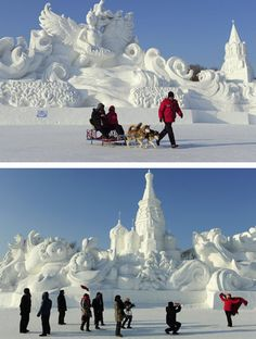 Snow sculptures in Harbin, China. Sometimes permanence is highly overrated. Ephemeral is beautiful.