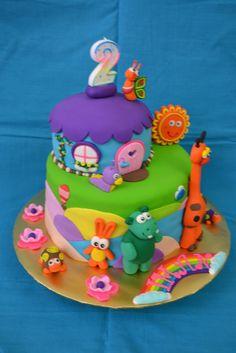 Rainbow Cake Flavor) ~ BabyTv Themed Cake ~ Thanks to Liza 1st Birthday Parties, 2nd Birthday, Birthday Cakes, Baby Tv Cake, Baby Cakes, House Cake, Dessert For Dinner, Cute Cakes, Creative Cakes