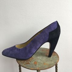 063c99daa627 WALTER STEIGER purple and black Vintage Heels  Made in Paris  New Vintage  Shoes vintage pumps court shoes