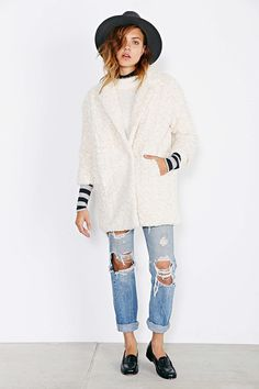 Kimchi Blue Fuzzy Cocoon Jacket - Urban Outfitters 040e2969434f