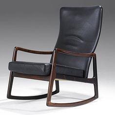 Ole Wanscher; Rosewood and Leather Rocking Chair for France & Sons, 1950s.