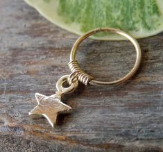 Gold Star Cartilage Helix Piercing Hoop Ring by mypiercingshop
