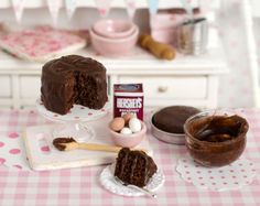 Miniature Chocolate Cake Baking Set by CuteinMiniature on Etsy
