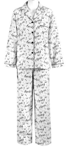 Amazon.com: Leisureland Women's Cotton Flannel Sleep Pajama Sets Music Notes Medium: Clothing