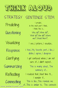 Reading Strategies sentence stems reading comprehension think aloud questions sentence stems