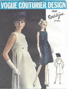 Vintage Vogue Sewing Pattern by 'Irene Galitzine'.really like the modified empire bustline, but not 40 dollars worth of like Vintage Dresses 1960s, Vintage Dress Patterns, 1960s Fashion, Vintage Fashion, Gothic Fashion, Vintage Outfits, Patron Vintage, Vogue Sewing Patterns, Lady