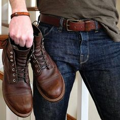 Carter showing us how to do leather and denim right with his Mountain Belt from Craft and Lore. Regram from @vinyl66 https://craftandlore.com/products/mountain-belt?variant=1142734049