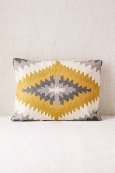 Grays + mustard yellow, Magical Thinking Geo Medallion Pillow - Urban Outfitters