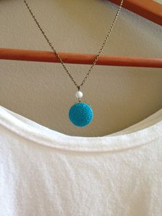Bright Cyan Blue Polymer Clay Cabochon Pendant Necklace by adieslovelies, $8.75