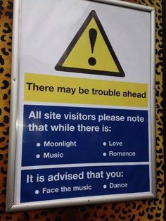 There may be trouble ahead. Get ready to face the music & dance. Funny Images Gallery, Funny Pictures, Smiley Happy, Fred And Ginger, Face The Music, Funny Signs, Health And Safety, Embedded Image Permalink, Make Me Smile