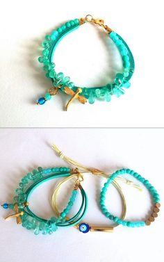Apatite Bracelet, Blue Bracelet, Gold Plated Evil Eye, Boho, Gemstone Bracelet, Women Jewelry, Dragonfly, Blue Ceramic Beads, Birthday Gift