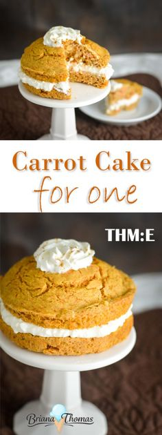 Carrot Cake for One - a totally acceptable breakfast snack or dessert! THM:E low fat sugar free nut free with gluten free option (the cake itself has a dairy free option) Low Carb Desserts, Healthy Desserts, Single Serve Desserts, Paleo Dessert, Dessert Recipes, Dairy Free Frosting, Trim Healthy Momma, Thm Recipes, Potato Recipes