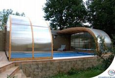 Telescoping pool enclosure for the interior courtyard.